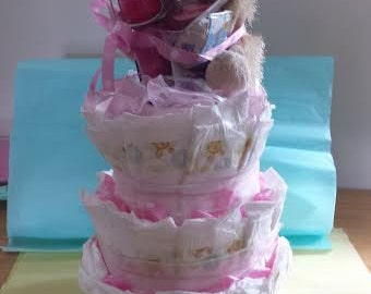 Adorable 2 foot tall diaper cake!