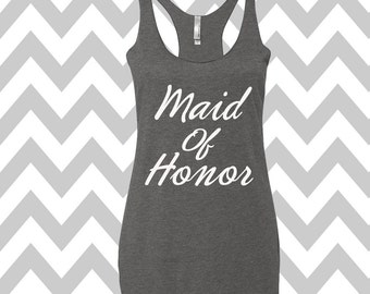 Maid Of Honor Tank Top Flowy  Racerback Tank Bachelorette Party Tank Top Bride Tank Wedding party tanks Maid Of Honor Tee Bridal Party Tee