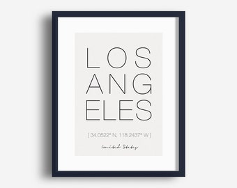 Printable Los Angeles City Print, Los Angeles Coordinates Poster, Minimalist Typography Art, City Wall Art, Digital Download Picture JPG