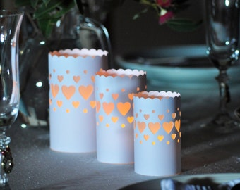 Wedding paper lantern luminare party heart design - Set of 3