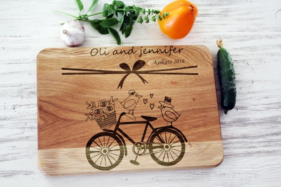 Wedding Gifts For The Kitchen : Personalized cutting board wedding gift for the couple Laser engraved ...