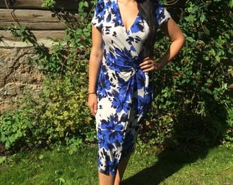 Printed Vintage Blue dress Retro Floral dress Size Large