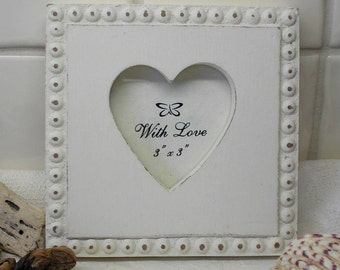 photograph frame wooden heart cream painted rustic wood photo frame shabby chic 75