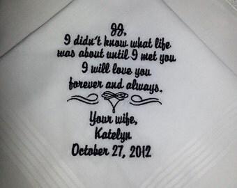Personalized Wedding Handkerchief Bride to Her Groom ~ Keepsake Gift