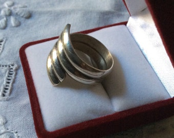 best price-VINTAGE MODERNIST RING - Sterling silver - Very Large - Elegant - Creator Jewel - antique from France