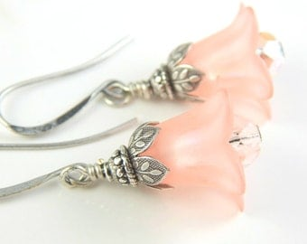 Peach flower earrings