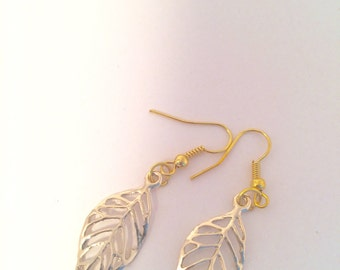 Dangle earrings - Handmade with gold coloured leaf design and gold plated fixtures item #031 by CraftyLittleMonkeyGB