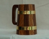 Handmade Coopered Walnut/Oak Tankard, 1-pint, Brass Hoops