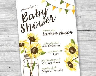 Sunflower Invitation Etsy