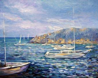 Art pictures, landscapes, sea, Mallorca, landscape pictures, oil paintings, murals, sailing boats, Bay