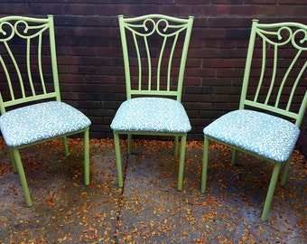 Refurbished Wrought Iron Dining Room Chairs