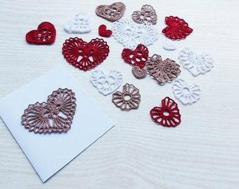 hearts pattern / pdf crochet pattern hearts / postcard decor / crochet applique pattern / applique hearts