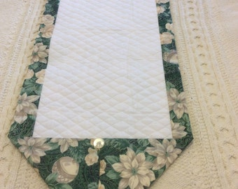 Reversible Quilted and Floral Table Runner or Dresser Topper