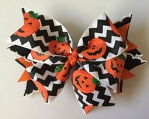 Chevron Pumpkin Hair Bow Headband