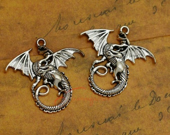 5PCS--47x44mm ,Dragons Charms, Antique silver Huge Large Flying Dragon Charm pendant, DIY supplies,Jewelry Making