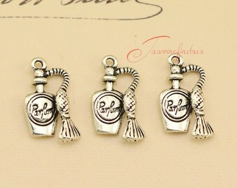 30PCS--19x10mm Perfume bottle Charms Antique Silver Tone 3D Perfume bottle Charms pendant, DIY supplies,Jewelry Making