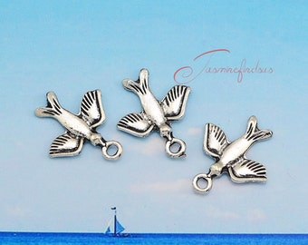 30PCS--21x18mm ,Bird charms, Antique Silver Lovely Bird Charm Pendant , DIY supplies,Jewelry Making JAS7689D