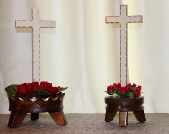 Cross centerpiece with silk flowers