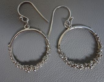 Silver hoop earrings-dangling-sterling silver-Silver earrings-925 Silver
