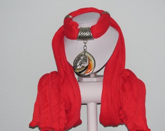 Red scarf Scarlet with large round pendant and sheet