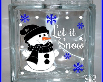 Let it Snow 03 Christmas Glass Block Decal Sticker / DIY / Glass Block Light Decal Sticker Holiday Sign Vinyl