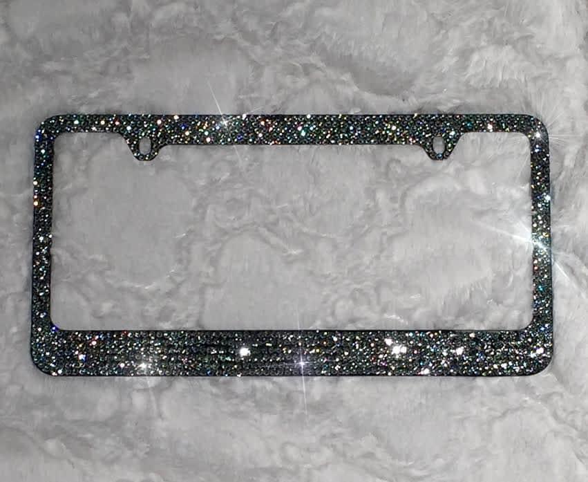 Charcoal Midnight Swarovski Crystal License Plate Frame Cover
