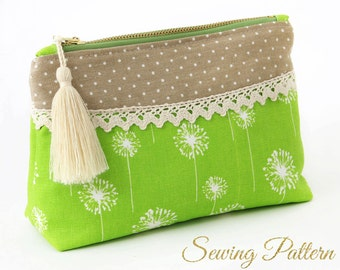 Clutch Pattern, Sewing Pattern PDF, Purse Pattern, Cosmetics Clutch Pattern, DIY Makeup Purse Pattern, Clutch Purse Pattern (B905)