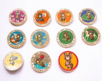 Bear pin Olympic games badge Mishka bear Moscow 1980 Vintage plastic collectible badge Soviet pin  USSR sport badget Olympic games symbol