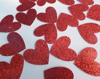 Red Glitter Heart Confetti  (100 pieces) Die Cut - Love, Couple, Engagement, Wedding Table Decorations