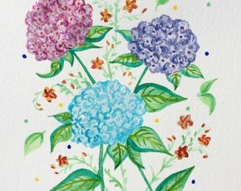 Original Watercolour Illustration Hydrangeas, A4 size, Handmade.