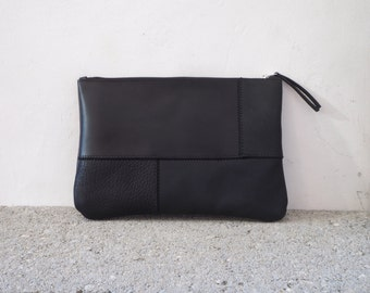 Black Leather Patchwork Clutch