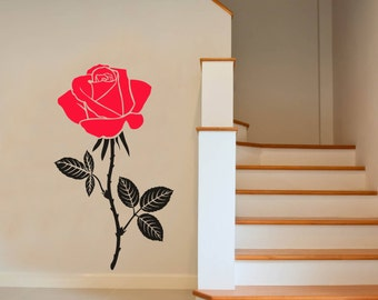 Large Rose Wall Art Decal Mural Plant Sticker