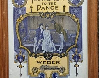 Framed 1902 Art Nouveau Sheet Music by Weber