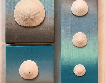 Ocean and Sanddollar Original Canvas, Set of 3