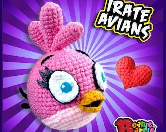 """Pink """"Irate Avian"""" crochet stuffed plush toy"""