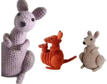 Kangaroo (with joey) amigurumi crochet pattern PDF