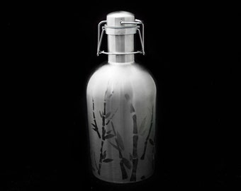 Hand Engraved Bamboo on 64oz Stainless Growler