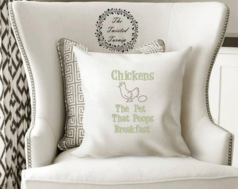 5x7 Hoop Funny Machine Embroidery Design Pillow Kitchen Farm Chickens The Pet That Poops Breakfast Original Digital File Instant Download