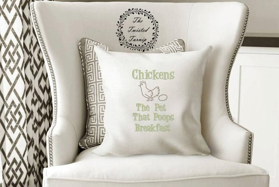 Funny Machine Embroidery Design Pillow Kitchen Farm Chickens The Pet That Poops Breakfast Original Digital File Instant Download 5x7 Hoop