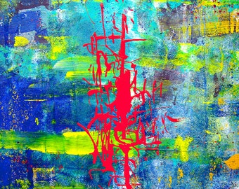 """Abstract painting on wood """"Wu-The Chinese dance"""""""