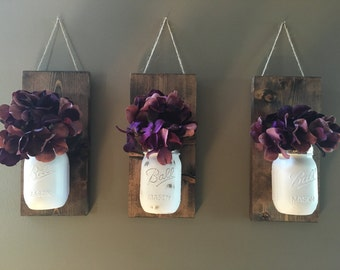 Decorative Wall Sconces For Flowers rustic wall sconce wall plaque mason jar sconce flower