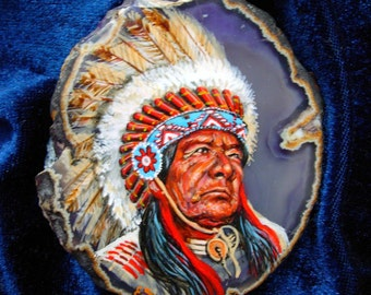 Indian Chief Agate Draiwing