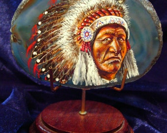Indian chief Indians  Agate Drawing