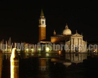 Digital Photo - Night in Venice - San Giorgio Maggiore - Venice Lagoon - Travel Photo - Venice Photo - Romantic Photo