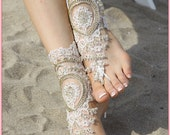 Ivory Fashion Beach Sandal, Wedding barefoot sandals, lace barefoot, ivory wedding sandals, footless sandals, bridal anklet, bridesmaid gift