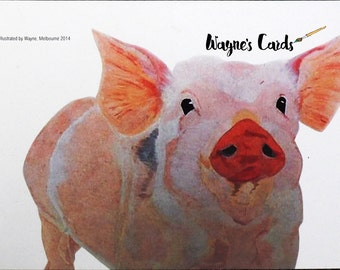 The Pink Pig (A4 reproduction on Card)