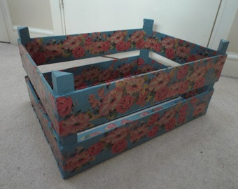 Decoupaged fruit crate