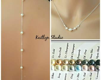 Sterlinmg Silver or 14K Gold Fill, White Ivory Pearl Necklace, Beaded Backdrop Necklace, Bridesmaid Gift, Bridal Jewelry, Wire Wrapped Pearl