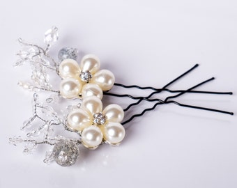 Set Hairpins Wedding Hair Accessories white silver Swarovski Elements