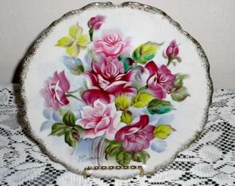 M Shimara hand painted Collectors plate